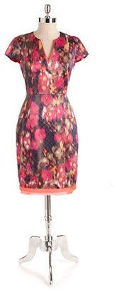 T Tahari Split V-Neck Peplum Dress