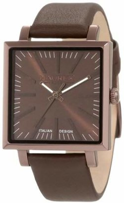 Haurex Italy Women's 6M375DMM Leaf Lady Square Brown PVD Leather Watch