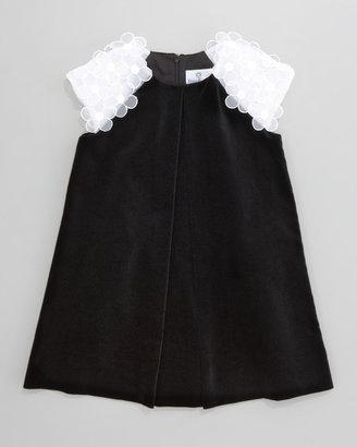 Florence Eiseman Floral-Shoulder Velvet Dress, Sizes 4-6X