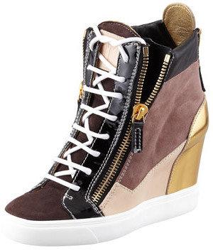 Giuseppe Zanotti Colorblock Wedge Sneaker, Black/Brown/Gold