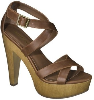 Mossimo Women's Wandy Wood Heeled Strappy Sandal - Cognac