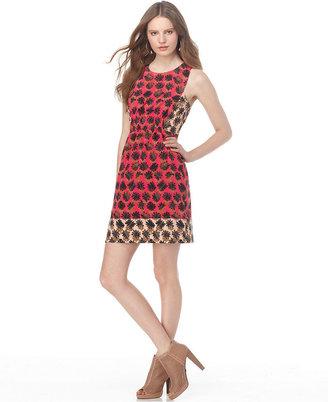 Rachel Roy Dress, Pop Bloc Sleeveless Scoop Neck Colorblocked Floral Printed Racerback A Line