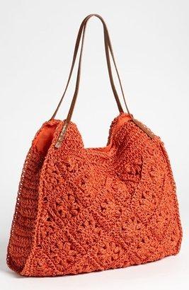 Straw Studios Crochet Tote Coral