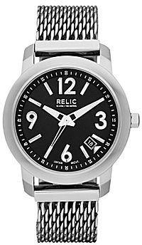 JCPenney Relic Patterson Mens Silver-Tone Mesh Bracelet Watch