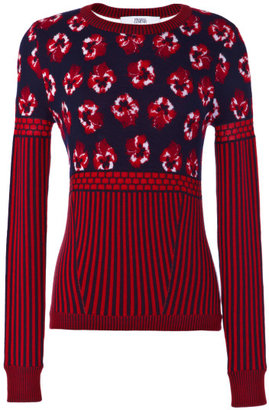 Prabal Gurung Preorder Wool Floral Jacquard And Striped Knit Sweater