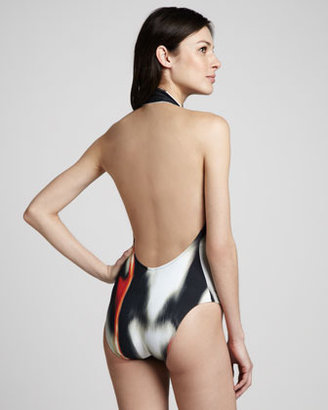 Lenny Runway Printed V-Neck Maillot Swimsuit