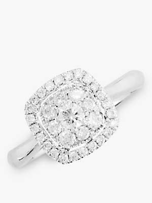 E.W Adams 18ct White Gold Diamond Cushion Cluster Engagement Ring, White Gold