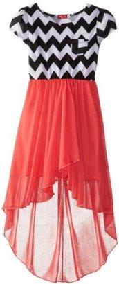 Ruby Rox Big Girls' Chevron Stripe High Low Dress