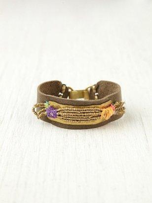 Free People De Petra Gold Spun Leather Bracelet