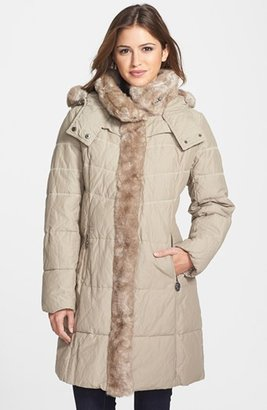 Hilary Radley Faux Fur Collar & Tuxedo Trim Quilted Coat