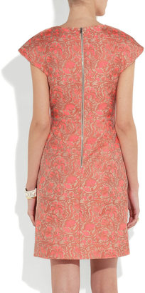 Richard Nicoll Neon paneled jacquard mini dress