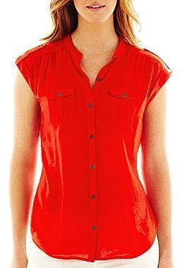 JCPenney a.n.a® Tabbed-Sleeve Button-Front Shirt