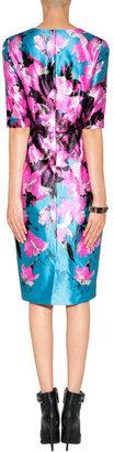 Prabal Gurung Silk-Cotton Sheath Dress in Pink/Turquoise