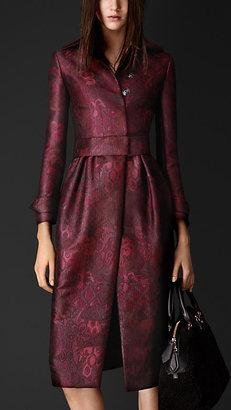 Burberry Silk-Blend Trellis Jacquard Gathered Skirt Coat