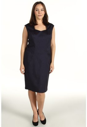 Klein Plus Anne Plus Size Herringbone Dress (Navy) - Apparel