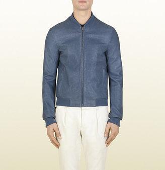 Gucci Blue Grey Nappa Leather Bomber Jacket