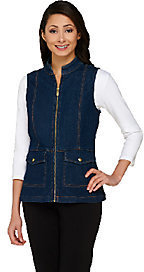 Liz Claiborne New York Zip Front Denim Vest with Stand Collar $13.94 thestylecure.com