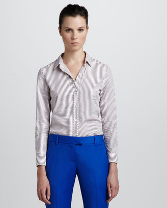 Theory Striped Button-Down Blouse