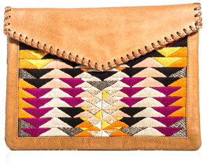 Lizzie Fortunato Leather and calf hair clutch