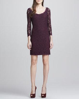 Diane von Furstenberg Zarita Scoop-Neck Short Lace Dress, Plum