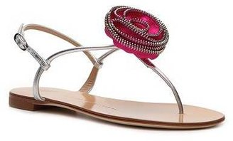 Giuseppe Zanotti Metallic Leather Flower Flat Sandal