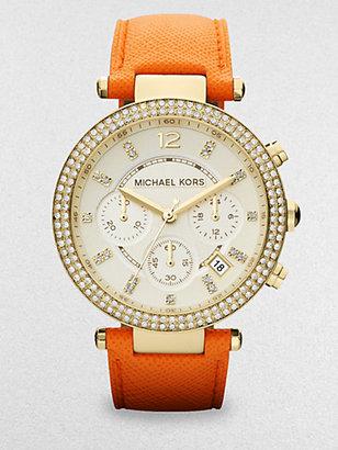 Michael Kors Crystal & Goldtone Stainless Steel Chronograph Watch/Orange
