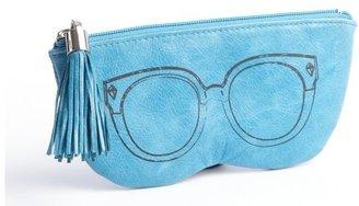 Rebecca Minkoff blue tasseled textured leather sunglasses case