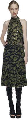 Proenza Schouler Green Bug Print Pieced Skirt