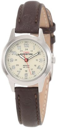 Timex Women's T40301 Expedition Metal Field Brown Leather Strap Watch $169.95 thestylecure.com