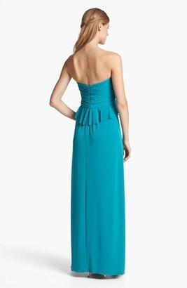Amsale Strapless Ruffled Peplum Jersey Gown