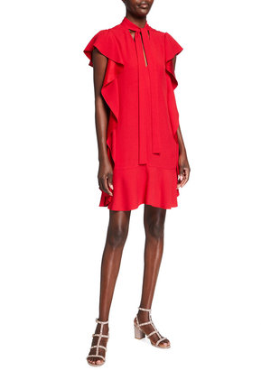 RED Valentino Tie-Neck Crepe Dress with Side Ruffles