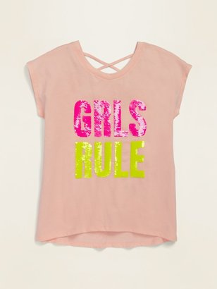 Old Navy Embellished Graphic Strappy Tunic Tee for Girls