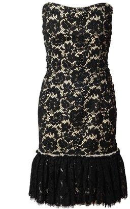 Lanvin Strapless Macramé Lace Dress