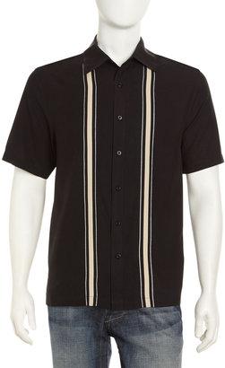 Nat Nast Striped-Front Short-Sleeve Shirt, Black