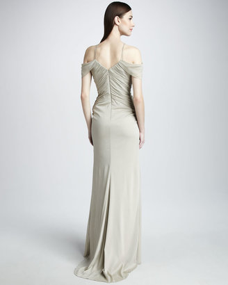 Badgley Mischka Beaded Cold-Shoulder Gown
