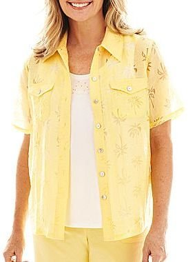 Alfred Dunner Flamingo Beach Palm Tree Burnout Layered Top