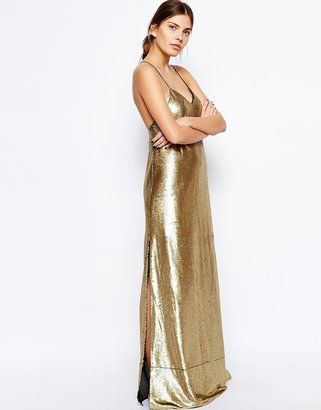 Finders Keepers Dream On Maxi Dress in Sequin with Cross Back