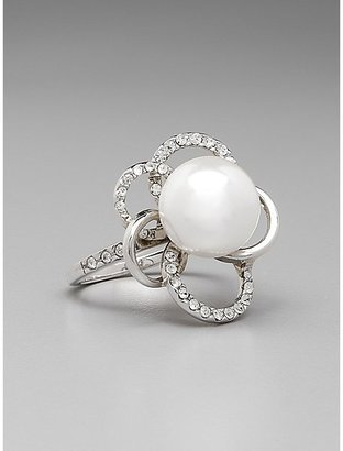 GUESS Silver Pearl Rhinestone Ring - Size 7
