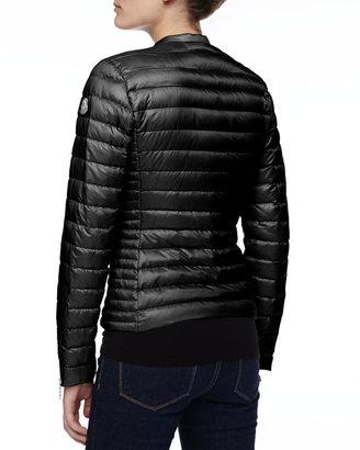 Moncler Asymmetric-Zip Puffer Jacket, Black