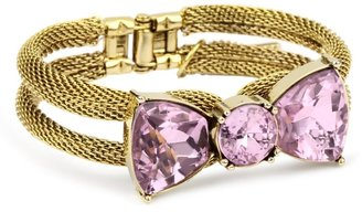 "Betsey Johnson Iconic"" Pink Crystal Bow Hinge Bangle Bracelet"