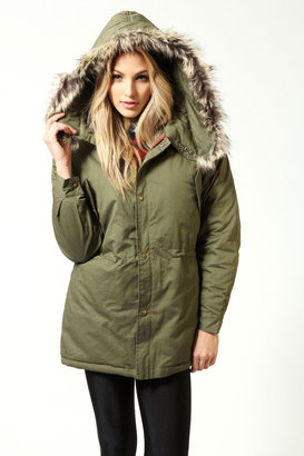 Boohoo Cherie Fur Hooded Padded Parka