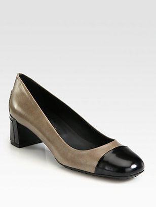 Tod's Bicolor Leather and Patent Leather Pumps