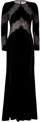 Valentino Black Lace Trim Velvet Gown
