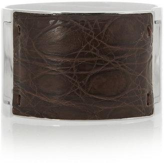 Fendi Coated silver-tone caiman cuff