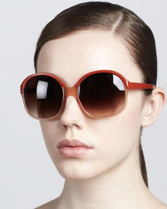 Oliver Peoples Casandra Round Sunglasses, Rust/Pecan