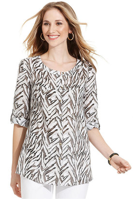 JM Collection Shirt, Three-Quarter-Sleeve Printed Scoop-Neck