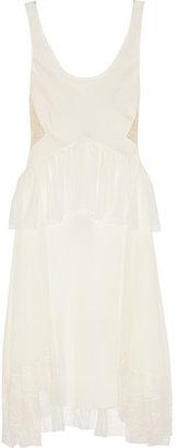 Jason Wu Lace-paneled silk crepe de chine dress
