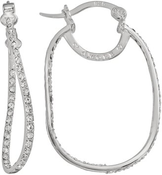 Amore By Simone I. Smith AMORE by SIMONE I. SMITH Platinum Over Silver Crystal Rectangular Inside-Out Hoop Earrings