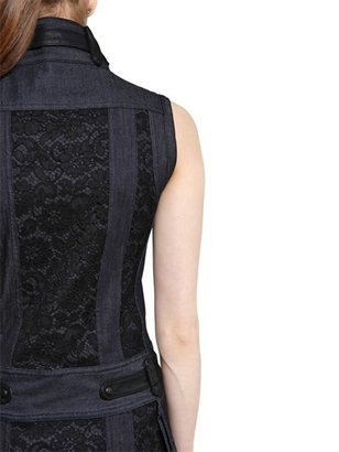 Diesel Black Gold Lace On Denim With Leather Biker Dress