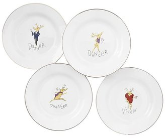 Pottery Barn Santa's Reindeer Dinner Plate, Mixed Set of 4